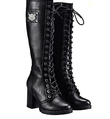 Milwaukee Riders Women's Knee High Laced Black Boots